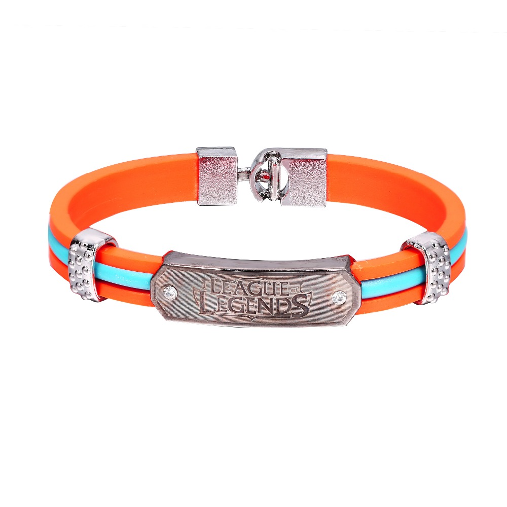 Hot Movie&Anime NEW Jewelry Anime Leather Bracelets Game <font><b>Cosplay</b></font> <font><b>League</b></font>&<font><b>Legends</b></font> Punk Fashion Orange Bngles LOL image