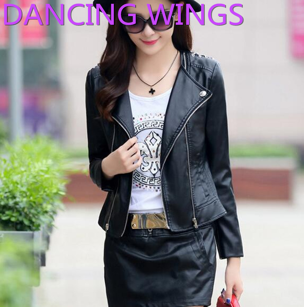 Leather jacket europe - Dancing Wings 2016 Spring Autumn Motorcycle Leather Female Coat Europe Fashion Temperament Round Neck Pu Leather