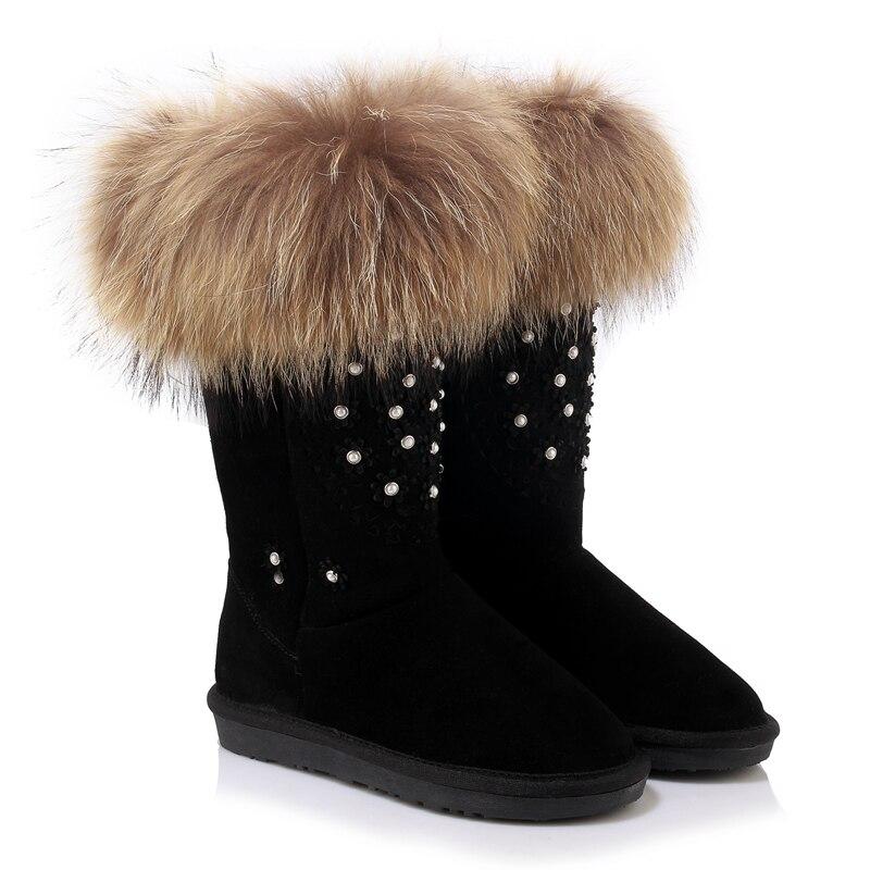 Fourrure Femme Neige Cuir Black Bottes Noir 2017 Femmes Mode Chaussures En Furtado Mi Nouveau Cowskin Avec D'hiver Réel 43 Rose Arden De Laine 34 pink mollet xfqTwYU7cS