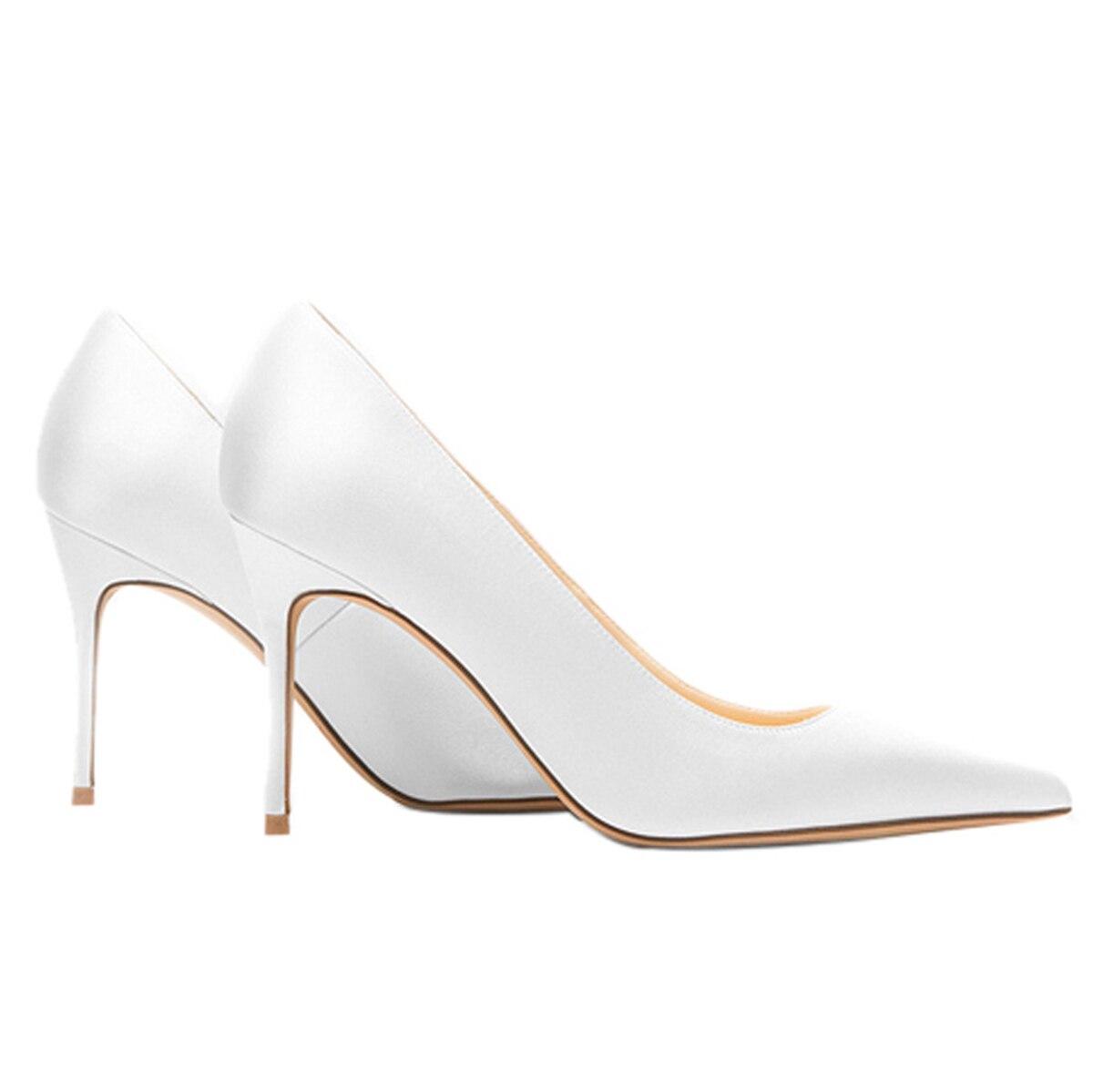 Femmes Chaussures Pompes Sexy Satin white Printemps Pointu De Hauts Vert Rouge Stilettos red Partie 8 SlipSur Automne Bout Cm Mariage Mince Talons Green 0wvmN8nO