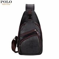 VICUNA POLO Extra Large Size Fashion Mens Shoulder Bag Burglarproof Snapper Black Leather Mens Messenger Bag