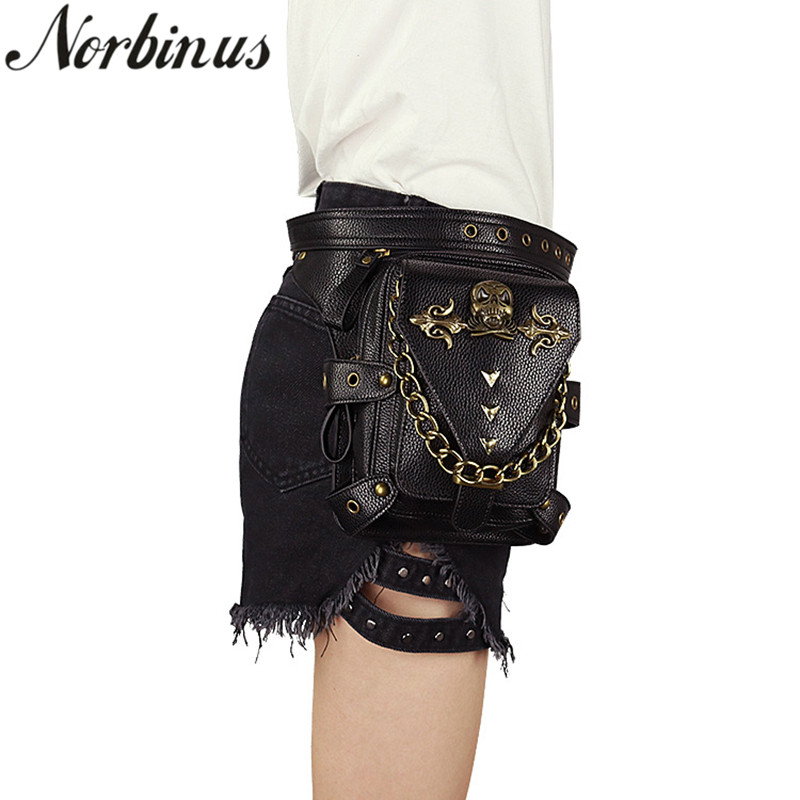 Norbinus Steampunk Gothic Women Waist Bag Skull Rivet Shoulder Crossbody Bags PU Leather Motorcycle Leg Bag Ladies Travel Packs femalee 2018 latest style women s shoulder bags 100% genuine sheepskin leather rivet crossbody bag fashion casual waist packs