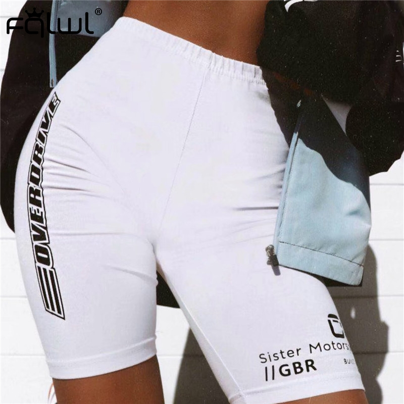 FQLWL Summer Fitness Biker Shorts Women Cotton Workout High Waist Shorts Female Casual Letter Printed White Skinny Sexy Shorts