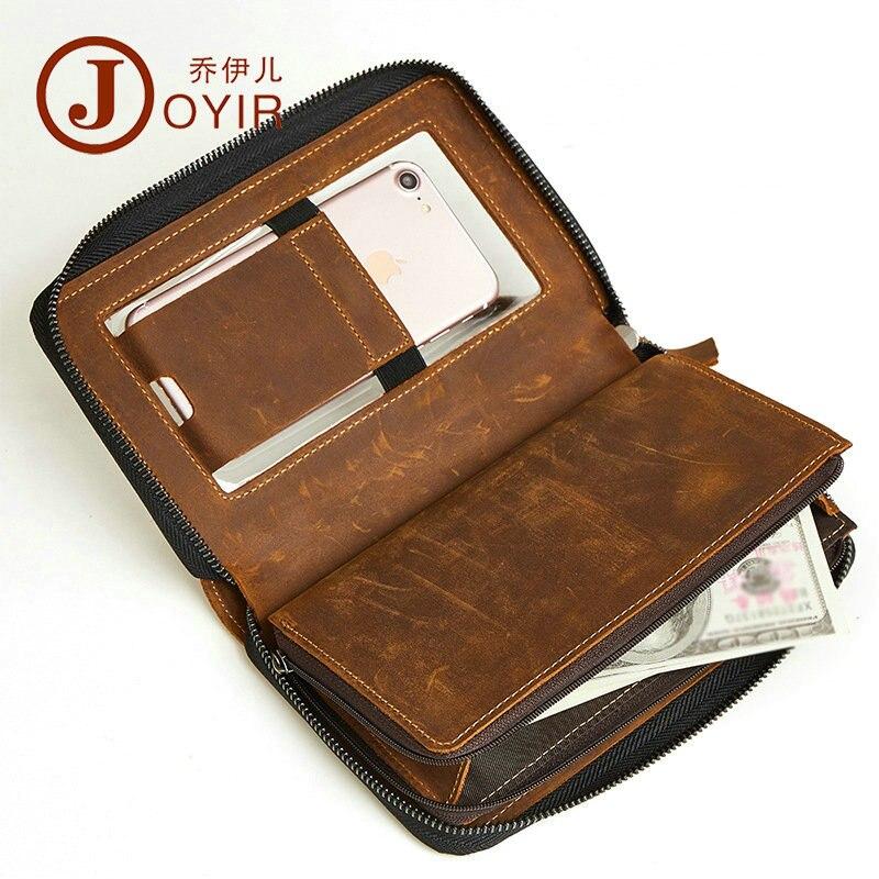 цена на JOYIR Retro 100% Crazy Horse Genuine Leather Wallet Male Money Phone Bag Card Holder Coin Men Wallets Clutch Zipper for iPhone 7