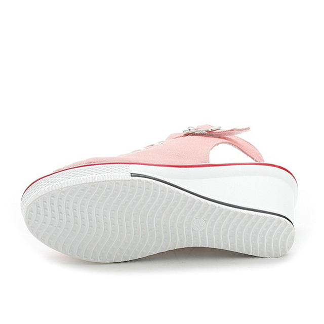 New Summer Wedges Canvas Shoes Woman Platform Sandals Ladies Open Toe Breathable Shoe Women Casual Shoes Platform Wedge Sandals