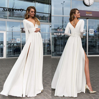 White Ivory Long Sleeves Evening Gowns Sexy V Neck Side Split Prom Dresses Summer Autumn Women Dresses 2019 Party Dresses