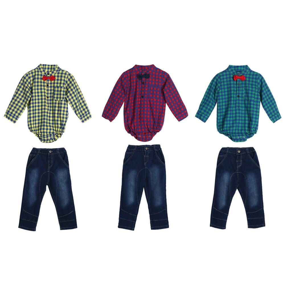 2pcs Baby Clothing Set Toddler Boys Gentlemen Bowknot Plaid Shirt Rompers Pants Outfit Long Sleeve Cotton Babys Set