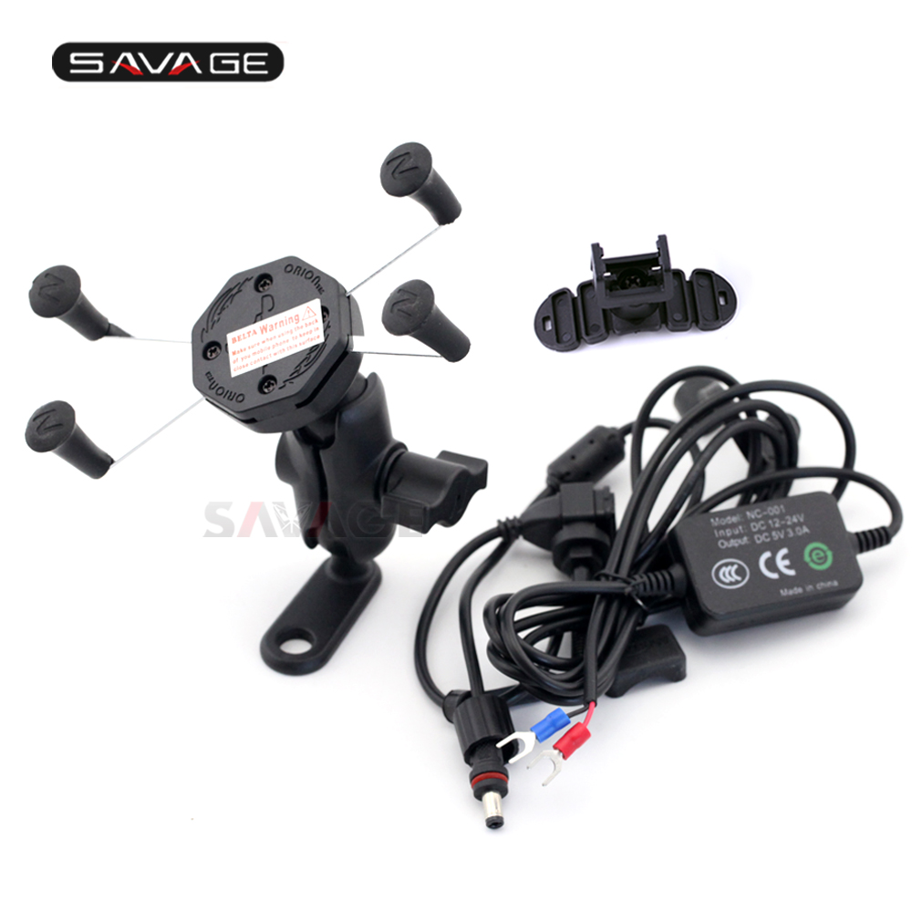 Phone Holder For <font><b>YAMAHA</b></font> FZ-8 FAZER FZ-1 FZ1N FZ-6R FZ-07 FZ-09 <font><b>FZS</b></font> Motorcycle <font><b>Accessories</b></font> Navigation Frame Bracket With USB Port image