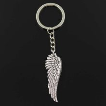 New Fashion Keychain 51x17mm angel wings Pendants DIY Men Jewelry Car Key Chain Ring Holder Souvenir For Gift(China)