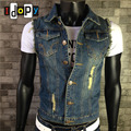 Fashion Men`s Retro Denim Vest Blue Vintage Color Ripped With Holes Single Breasted Gilet Jeans Vest For Male