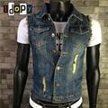 Fashion Men`s Retro Denim Vest Blue Vintage Color Ripped With Holes Single Breasted Gilet Jeans Vest For Male