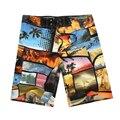 De alta Calidad Para Hombre Pantalones Cortos de Surf Pantalones Cortos de Playa Del Deporte Homme Bermudas Pantalones Cortos Boardshorts de Secado rápido de Impresión de plata