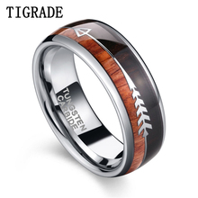 Tigrade 8mm Tungsten Ring For Mens Wedding Band Engagement Silver Natural Wood & Arrow Design Dome Style Size 6-13 for Mal