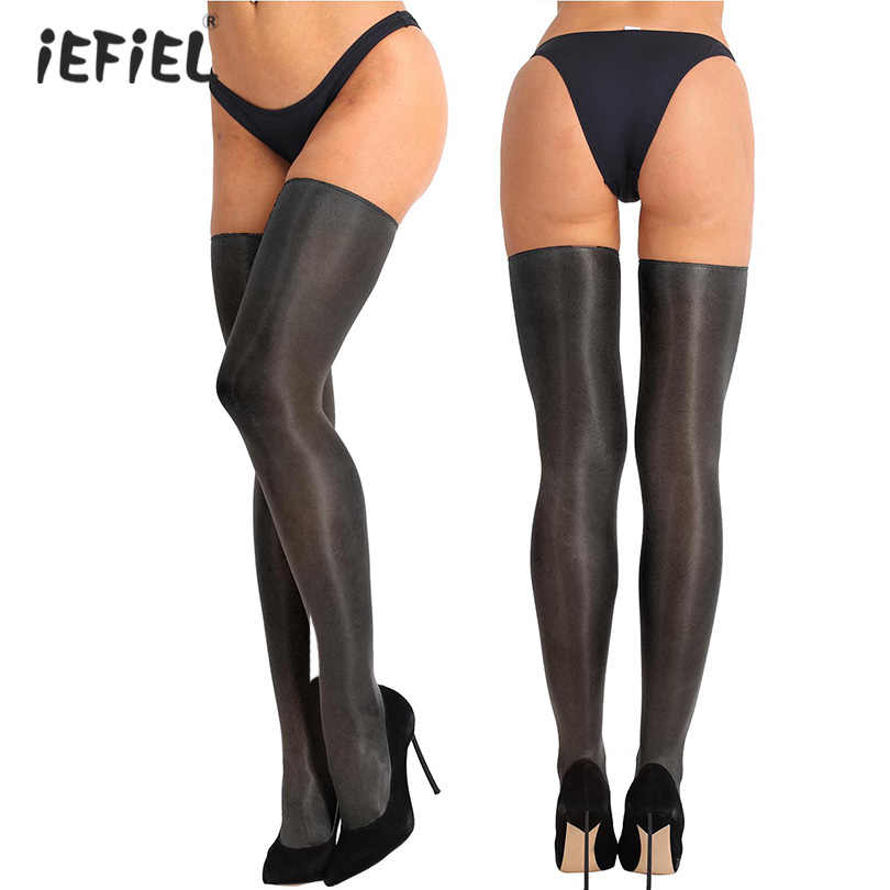 iEFiEL Sex Women Tights Classic Satin Erotic Sexy Pantyhose Silk Long Stockings Female Hosiery Soft Sheer Full-footed Stockings