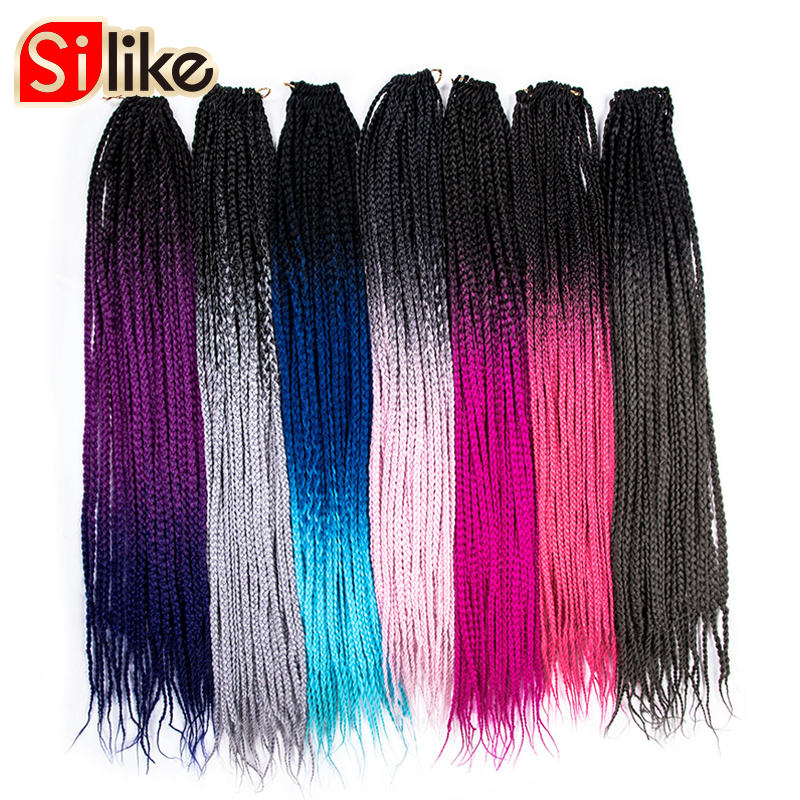 Silike 24 pouce Crochet Ombre Tresses Boîte 100 g/pc Synthétique Extensions De Cheveux de Crochet 24 Stands Résistant À La Chaleur Fiber