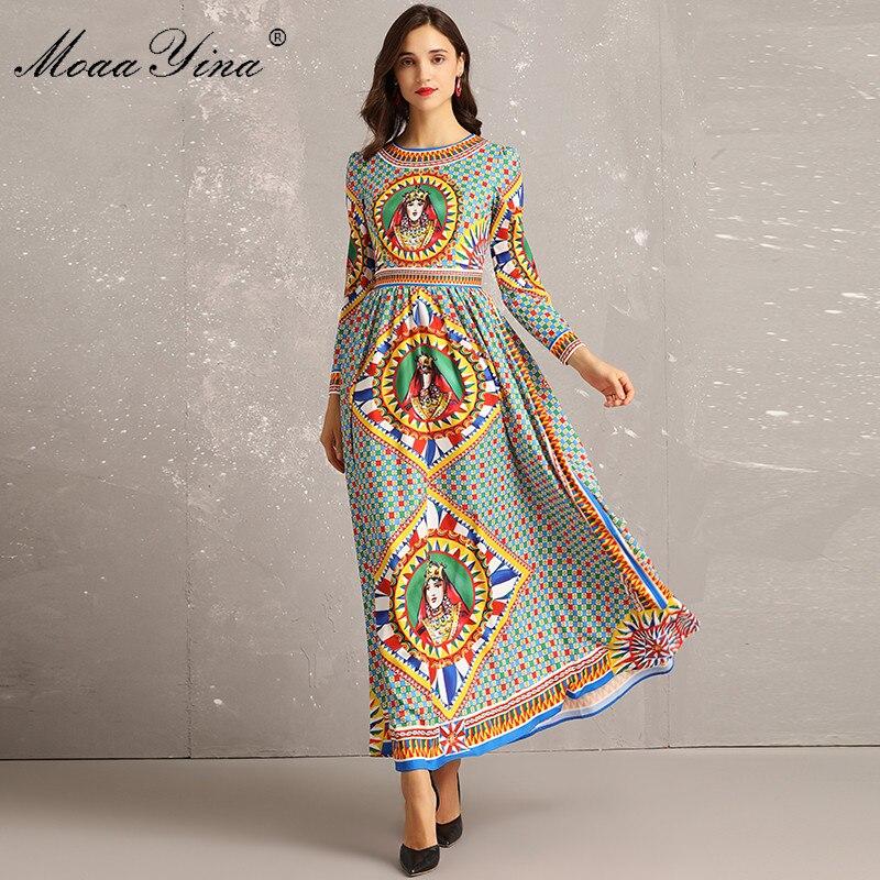 Vintage Designer Longues Robes Manches À Impression Piste Multi Robe Plaid Moaayina Motif Femmes Automne Maxi Mince 2018 Élégant qn8w748E