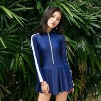 Summer 2018 new Sexy Long sleeve sunscreen Pleated skirt style one Piece swimsuit Black blue Zipper beach women swimwear