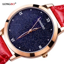 Ladies Watch Top Brand Luxury LONGBO Shiny Star Elegant Women Fashion Designer Leather Quartz Watch Female relogio feminino 5052