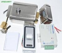 LPSECURITY 10 tags power supply 125khz metal Fingerprint Biometric access control rfid reader gate door lock access control kit