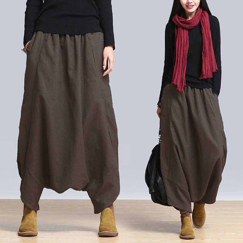 2019 летние модные ZANZEA Твердые мешковатые длинные брюки для девочек для женщин Повседневное Эластичный Высокая Талия шаровары Винтаж к