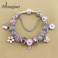 New enamel flower Charms Bracelets & Bangles for Women Pink Rhinestone Beads fit Pan Bracelet Fashion Jewelry Gift B17004