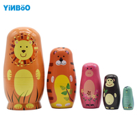 Wooden Russian Nesting Doll 5 Layer Matryoshka Dolls Forest Animals Home Decoration Craft Nice Gift