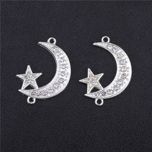 Juya DIY Islamic Jewelry Accessories Gold/Silver Color Crescent Allah Moon Star Connectors For Muslim Jewelry Making