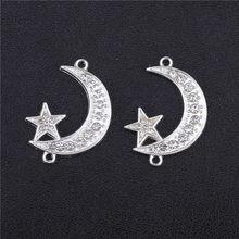 Juya diy acessórios de jóias islâmicas ouro/prata cor crescente allah lua estrela conectores para fazer jóias muçulmanas