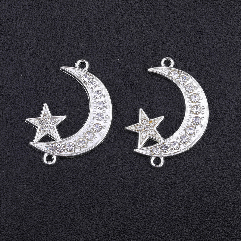 Juya Wholesale DIY Islamic Jewelry Accessories Gold/Silver Crescent Allah Moon Star Connectors For Muslim Jewelry Making