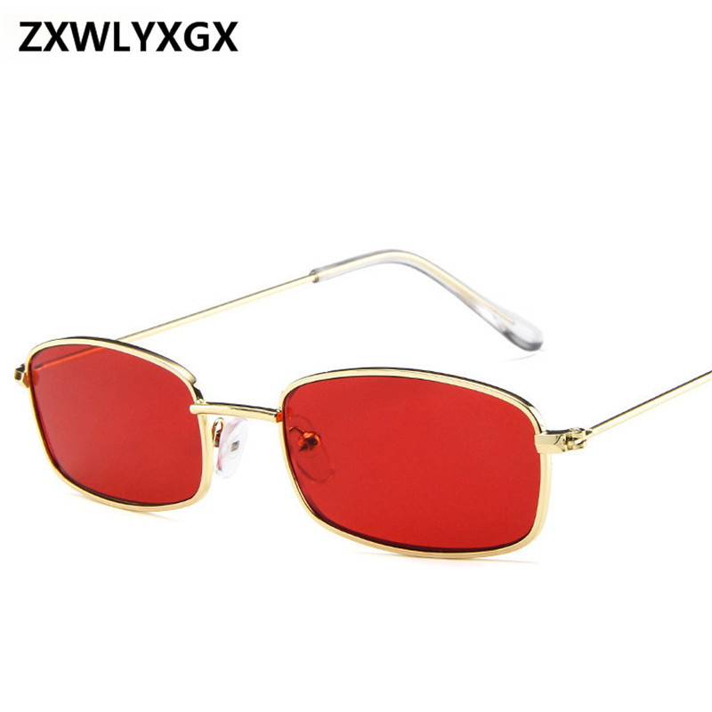 2018 New Small Rectangle Retro Sunglasses Men Brand Designer Red Metal Frame Clear Lens Sun Glasses Women Unisex UV400