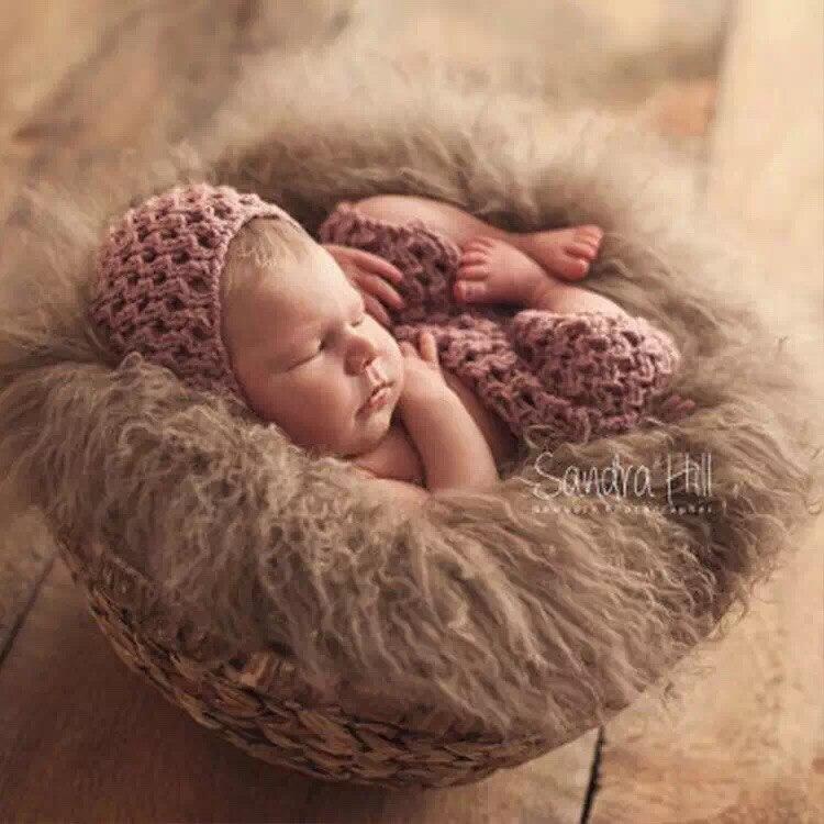 d2a406d5731f 24in circle Pure wool fur blanket Newborn props infant basket filler ...