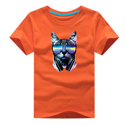T-shirt for Children 2018 NEW Summer Short Sleeve 100% Cotton T-shirts Baby Girls Boys CAT DJ Funny tshirt Tops Tees for 2-14Y