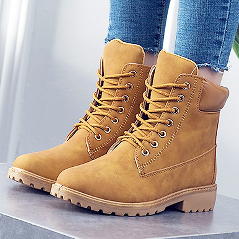Fashion leather women boots winter shoes ankle boots for women 2018 short plush adult female snow boots plus size 36-41