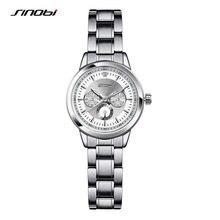 f0b66835592 SINOBI Pulseira de Aço Moda Relógios de Pulso das Mulheres Marca De Luxo de Genebra  Relógio de Quartzo Senhoras Relógio De Pulso.