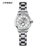 SINOBI Female Antique Quartz Watch Black Case Ladies Silver Bracelet Waterproof Women Digital Nail Automatic Wristwatch