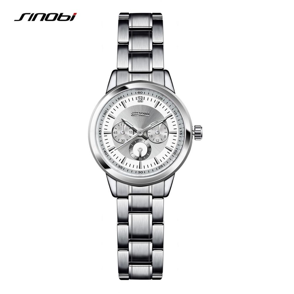 SINOBI Women's Bracelet Fashion Steel Wrist Watches Luxury Brand Geneva Quartz Clock Ladies Wristwatch Relojes Mujer Saatler