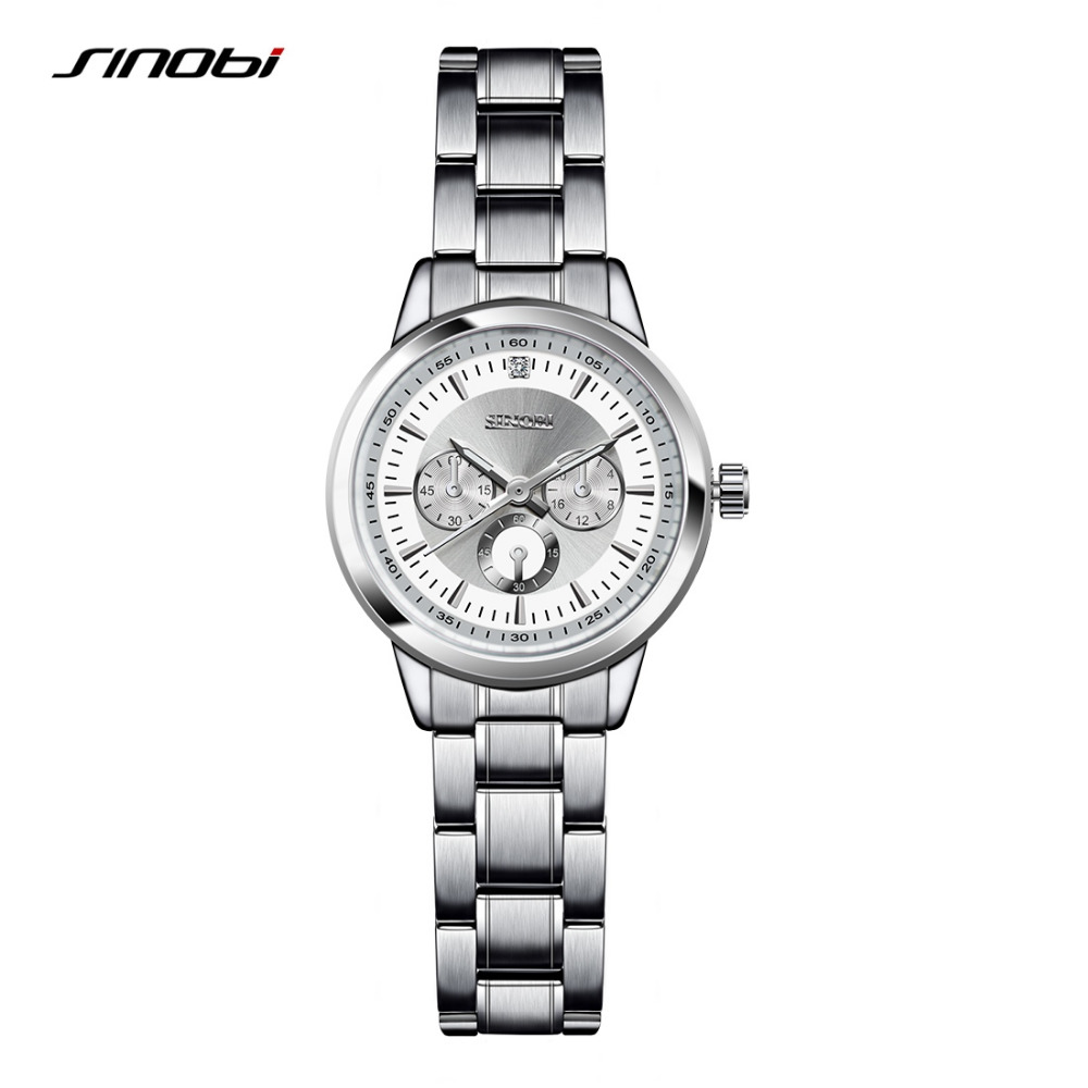 SINOBI Female Antique Quartz Watch Black Case Ladies Silver Bracelet Waterproof Women Digital Nail Automatic Wristwatch