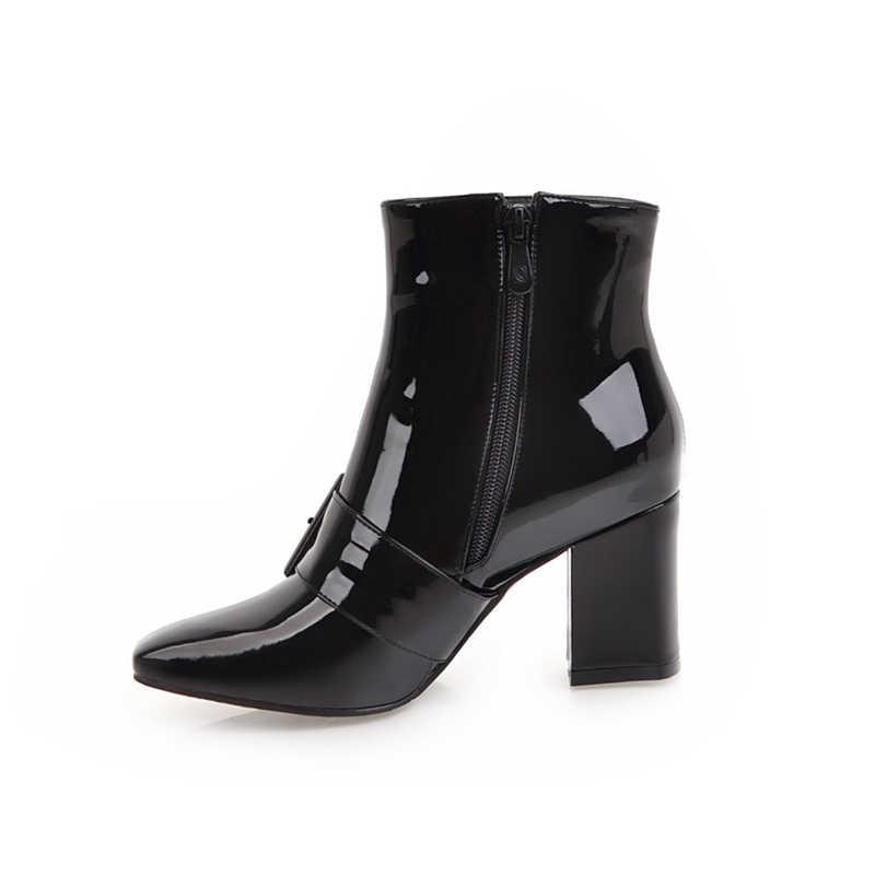 KARINLUNA new arrivals grote maat 32-43 zwart enkellaars vrouw schoenen mode vierkante teen vierkante hakken winter laarzen vrouw schoenen