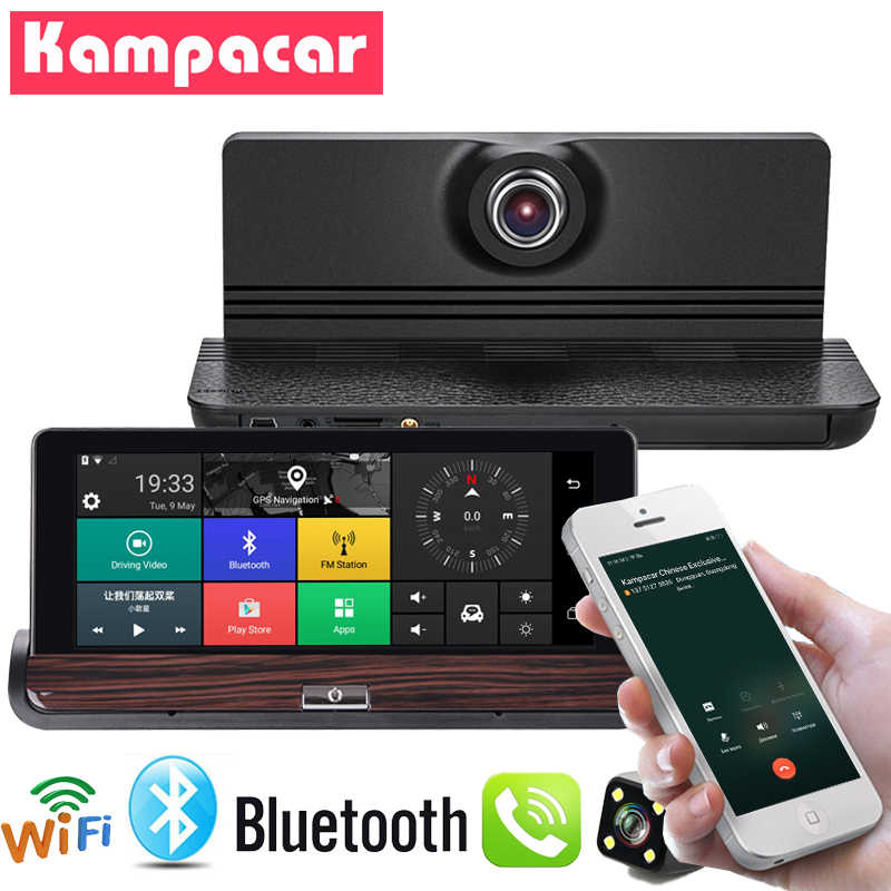 "Kampacar 7 "" Android 3G Car DVR Dash Cam GPS Navigation Auto Video Recorder Mirror With Rear View Camera Bluetooth Wifi Two Dvrs"