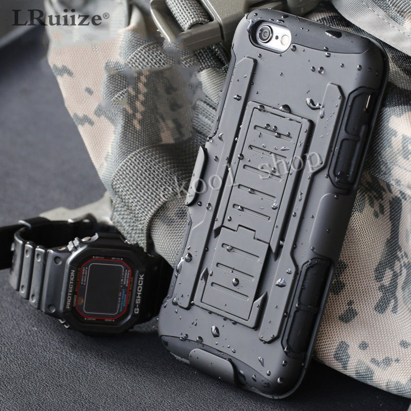 For Iphone XS Max Luxury Armor Shockproof Holster Silicone Hard Case For Iphone 8 7 6s Plus 5s Cell Phone Shell Cover Bags Hoes