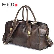 AETOO New first layer real cowhide color men's bag retro crazy horse leather billiard shoulder slung leisure travel men's bag недорого