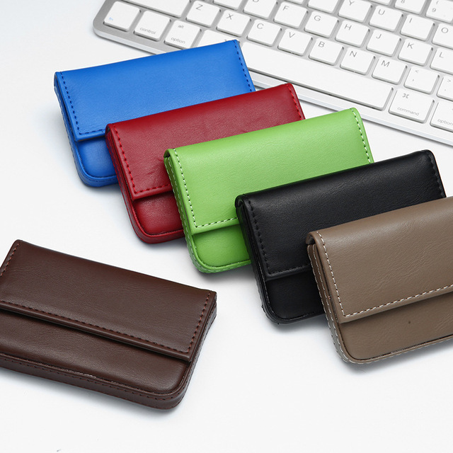 Pu Leather Id Credit Card Holder Magnetic Buckle Business Case Rfid Wallet For Men And