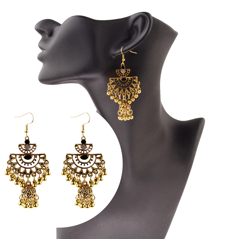 Tophanqi Indian Jhumka Jewelry Gold Leaf Dangle Earrings For Women Bohemian Vintage Ethnic Drop Earrings Boucle Doreille Femme Drop Earrings