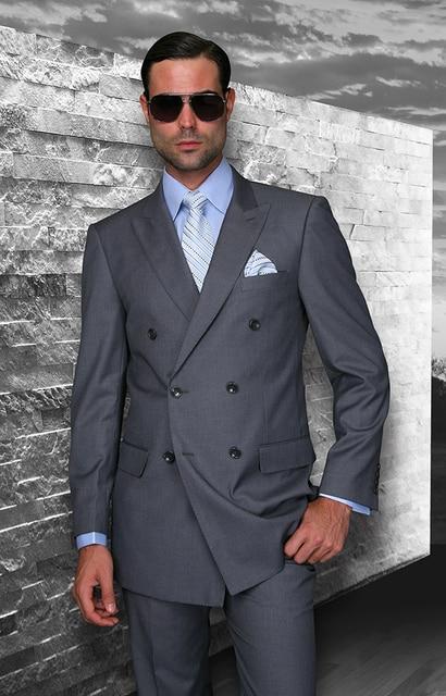 Dernières Manteau Pantalon de Conception Gris Double Breasted Custom Made  Hommes Costume de mariage Formelle D 3cddd966194