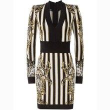 Высокое качество Париж Мода 2017 барокко дизайнерское платье Для женщин с длинным рукавом v-образным вырезом полосатый узор Вязание облегающее платье