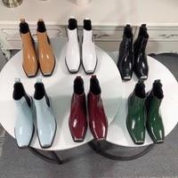 Kmeioo/обувь из коровьей кожи, женские ботильоны, женская обувь 2018, весенние ботинки с квадратным носком, zapatos de mujer botas mujer