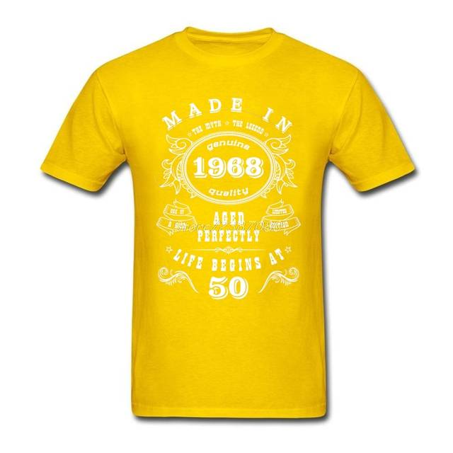 Placeholder Hip Hop Made In 1968 50th Birthday T Shirt Cool Brand Clothing Cotton 3XL Short Sleeve
