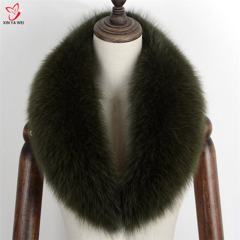 New Long Real Natural Fox Fur Collar Scarf Custom Made Women Spring Winter Warm Solid Jackets