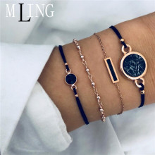 MLING Bohemian Black Stone Bracelets Bangles For Women Fashion Gold Color Chain Sets Jewelry Gifts