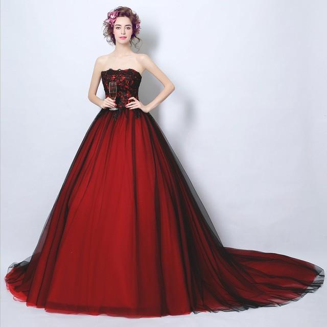 modelos de encargo negro y rojo de la boda vestido de novia de ...